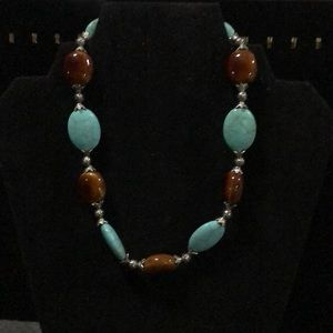 Pretty brown and turquoise blue beaded necklace